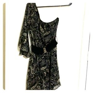 Black chiffon printed dress